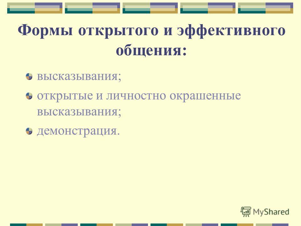 Формы открытого и эффективного общения: высказывания; открытые и личностно окрашенные высказывания; демонстрация.