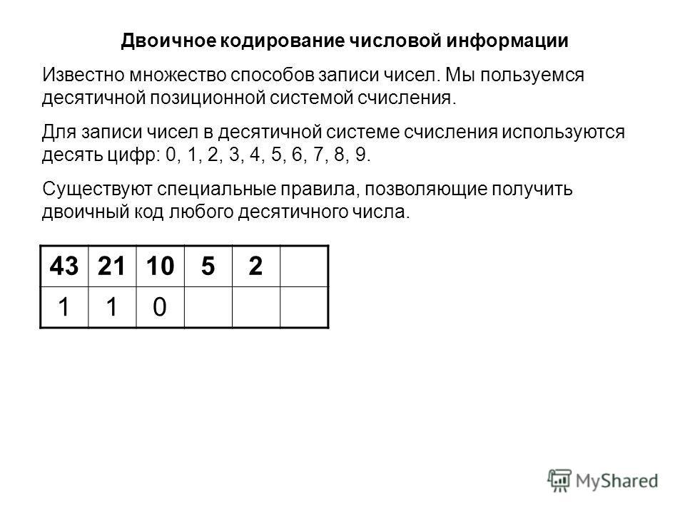 43211052 110 Двоичное кодирование числовой информации Известно множество способов записи чисел. Мы пользуемся десятичной позиционной системой счисления. Для записи чисел в десятичной системе счисления используются десять цифр: 0, 1, 2, 3, 4, 5, 6, 7,