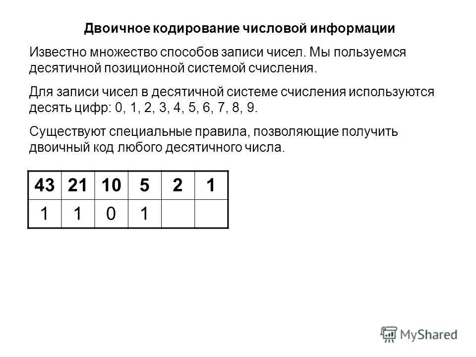 432110521 1101 Двоичное кодирование числовой информации Известно множество способов записи чисел. Мы пользуемся десятичной позиционной системой счисления. Для записи чисел в десятичной системе счисления используются десять цифр: 0, 1, 2, 3, 4, 5, 6,