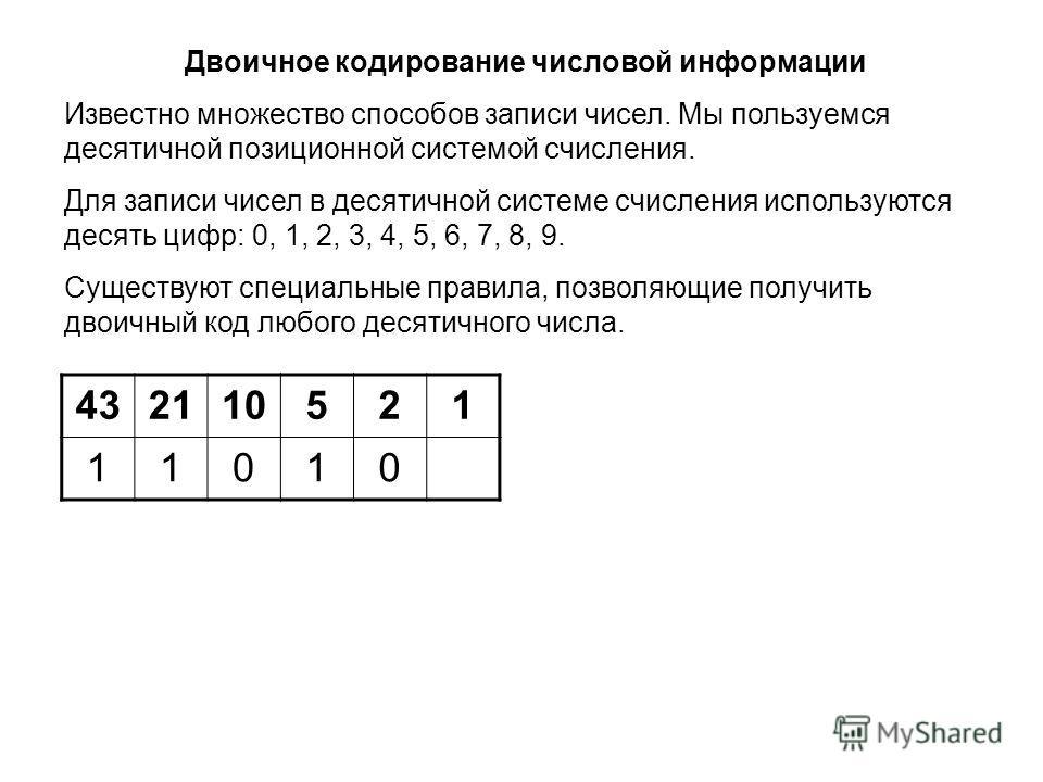 432110521 11010 Двоичное кодирование числовой информации Известно множество способов записи чисел. Мы пользуемся десятичной позиционной системой счисления. Для записи чисел в десятичной системе счисления используются десять цифр: 0, 1, 2, 3, 4, 5, 6,