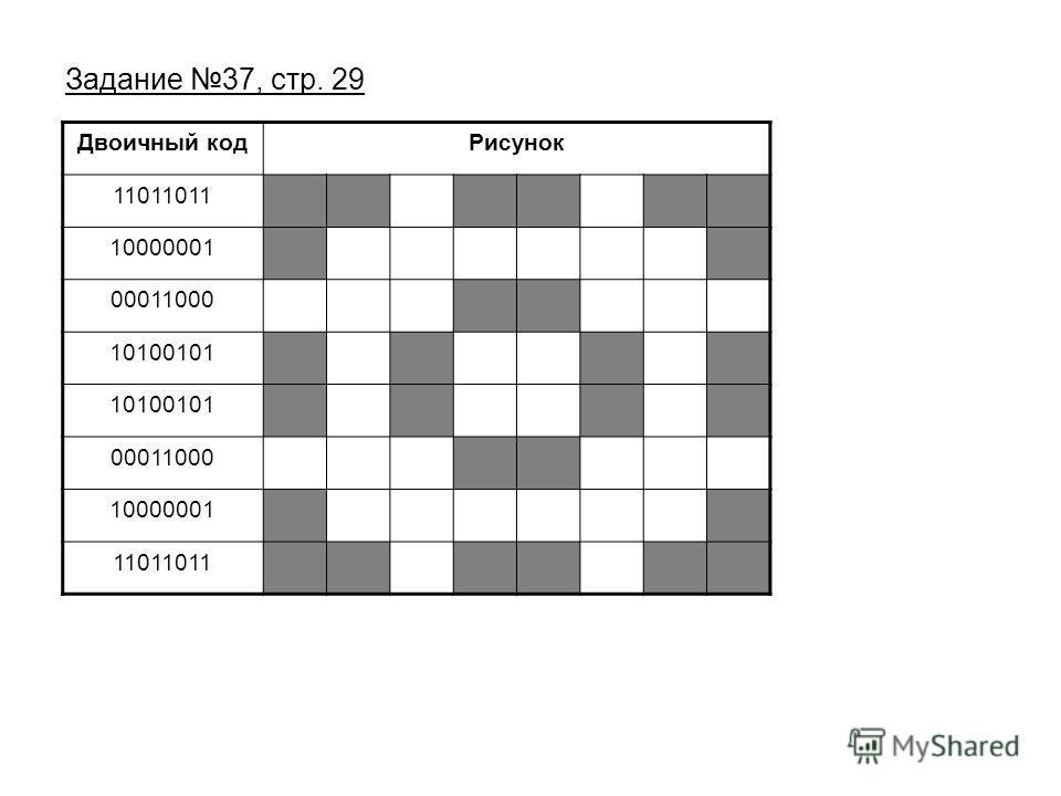 Задание 37, стр. 29 Двоичный кодРисунок 11011011 10000001 00011000 10100101 00011000 10000001 11011011