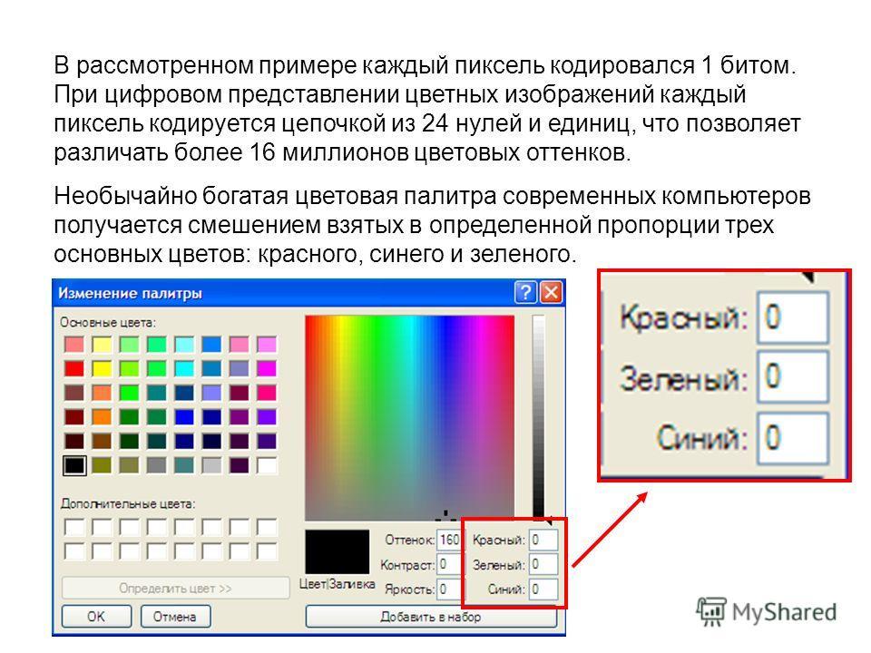 В рассмотренном примере каждый пиксель кодировался 1 битом. При цифровом представлении цветных изображений каждый пиксель кодируется цепочкой из 24 нулей и единиц, что позволяет различать более 16 миллионов цветовых оттенков. Необычайно богатая цвето