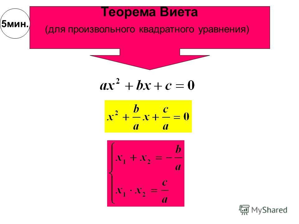 Применение обратной теоремы Виета Найдите корни уравнения p=-2q=-3 3 5мин.