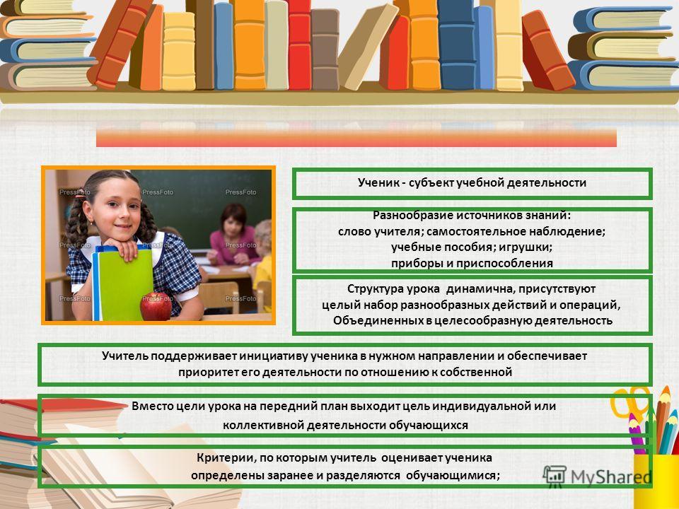 9 Ученик - субъект учебной деятельности Разнообразие источников знаний: слово учителя; самостоятельное наблюдение; учебные пособия; игрушки; приборы и приспособления Структура урока динамична, присутствуют целый набор разнообразных действий и операци