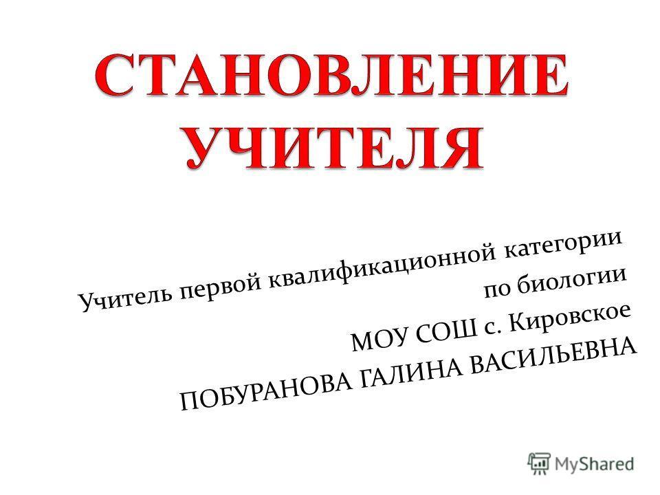 Учитель первой квалификационной категории по биологии МОУ СОШ с. Кировское ПОБУРАНОВА ГАЛИНА ВАСИЛЬЕВНА