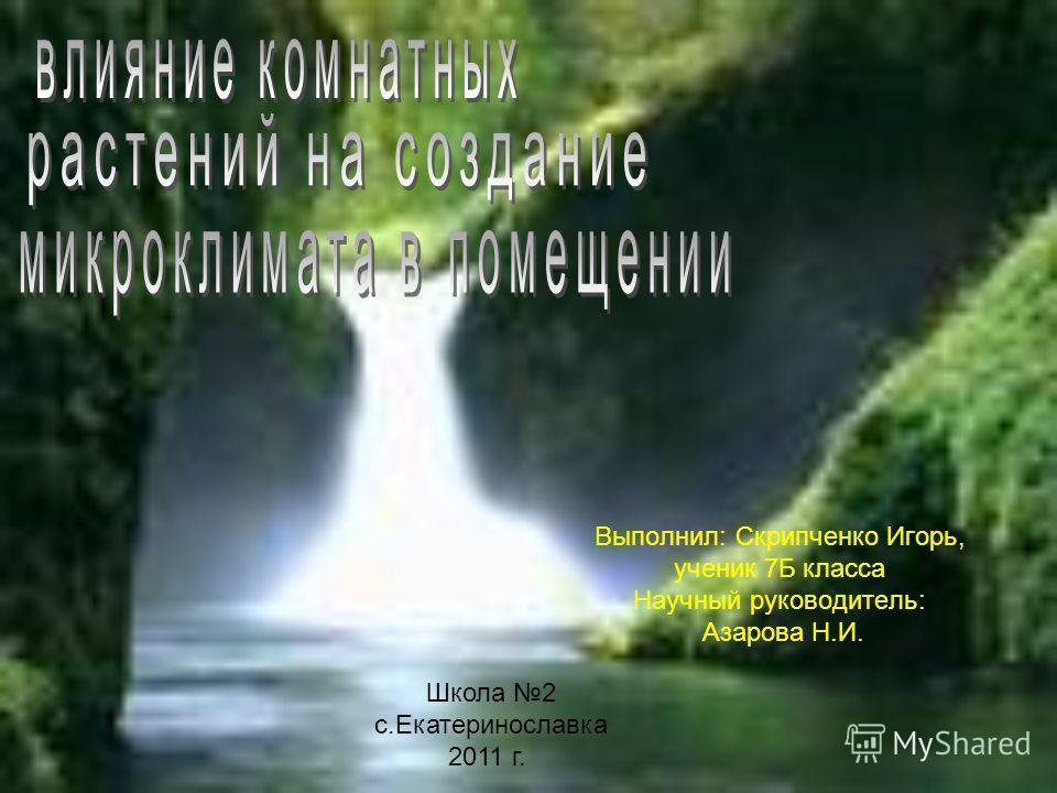 Выполнил: Скрипченко Игорь, ученик 7Б класса Научный руководитель: Азарова Н.И. Школа 2 с.Екатеринославка 2011 г.
