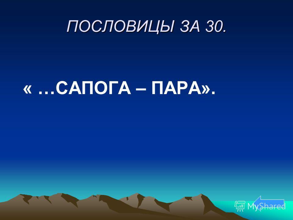ПОСЛОВИЦЫ ЗА 30. « …САПОГА – ПАРА».