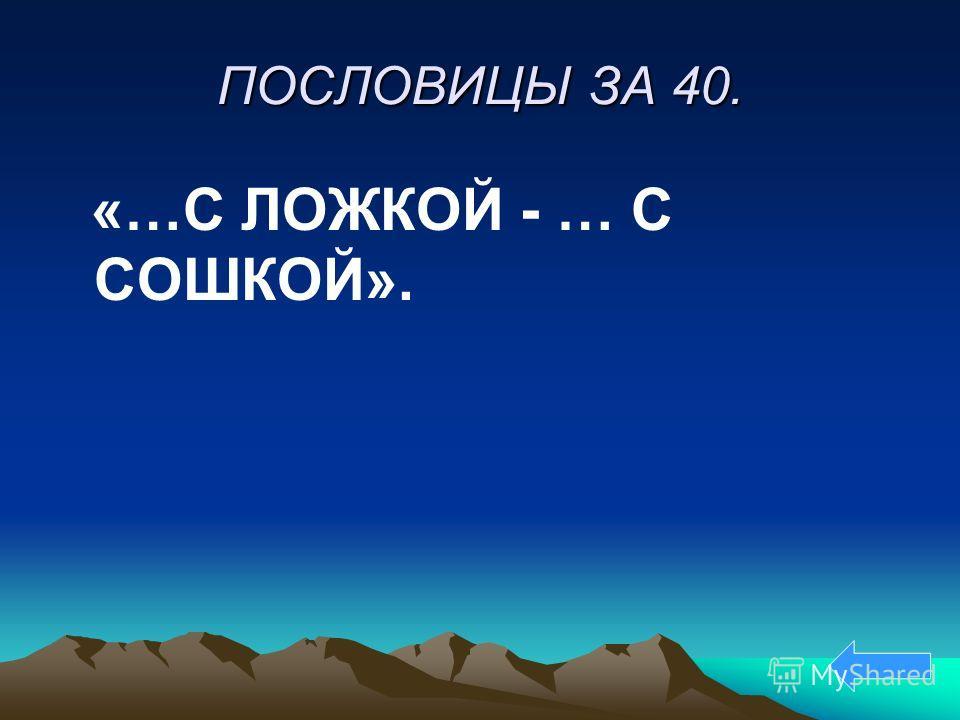 ПОСЛОВИЦЫ ЗА 40. «…С ЛОЖКОЙ - … С СОШКОЙ».