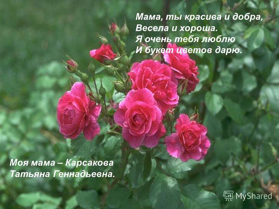 Мама, ты красива и добра, Весела и хороша. Я очень тебя люблю И букет цветов дарю. Моя мама – Карсакова Татьяна Геннадьевна.