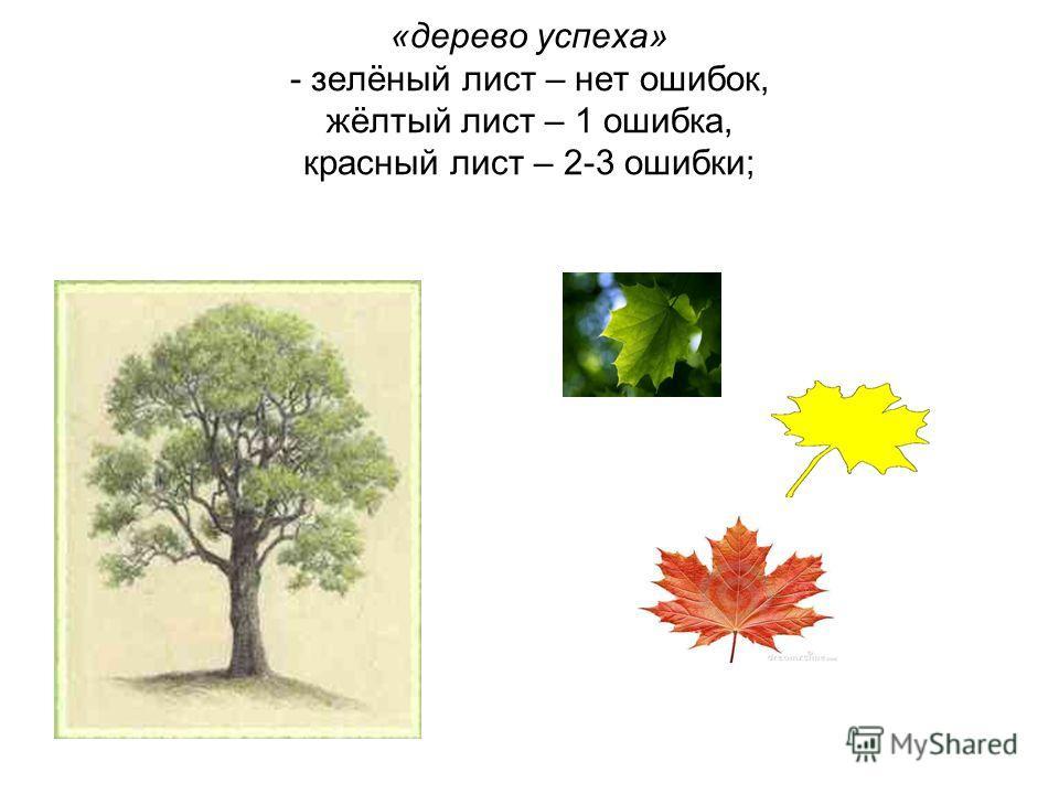 «дерево успеха» - зелёный лист – нет ошибок, жёлтый лист – 1 ошибка, красный лист – 2-3 ошибки;
