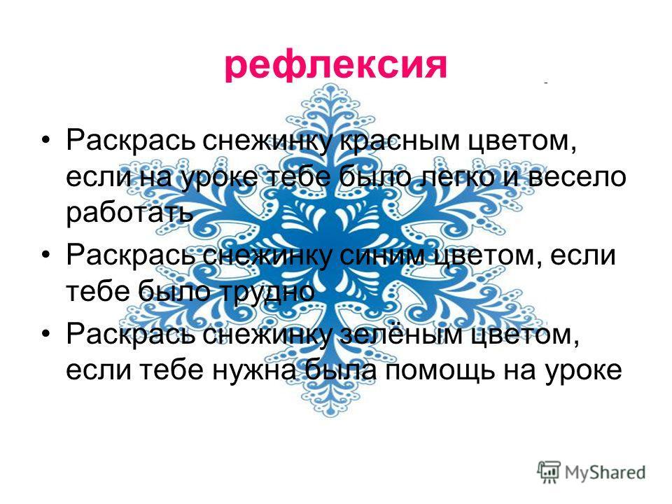 рефлексия Раскрась снежинку красным цветом, если на уроке тебе было легко и весело работать Раскрась снежинку синим цветом, если тебе было трудно Раскрась снежинку зелёным цветом, если тебе нужна была помощь на уроке