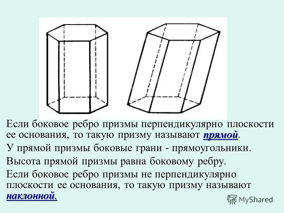 Если боковое ребро призмы перпендикулярно плоскости ее основания, то такую призму называют прямой. У прямой призмы боковые грани - прямоугольники. Высота прямой призмы равна боковому ребру. Если боковое ребро призмы не перпендикулярно плоскости ее ос