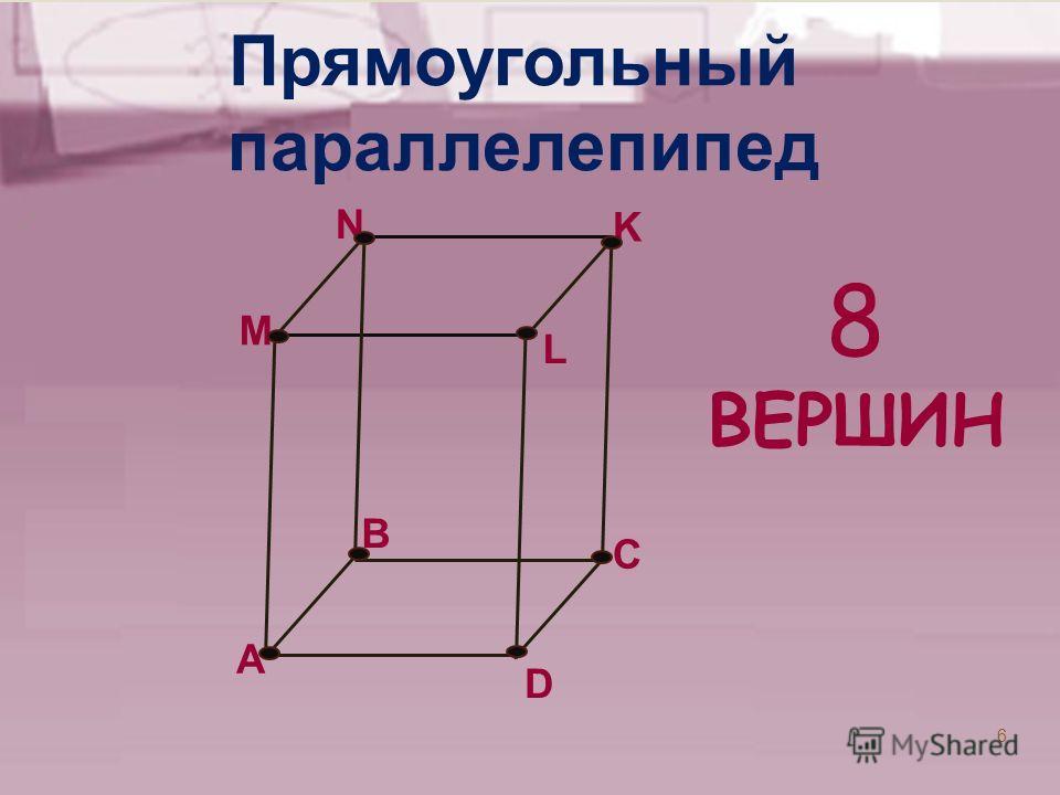 Прямоугольный параллелепипед 8 ВЕРШИН M А N В K L С D 6