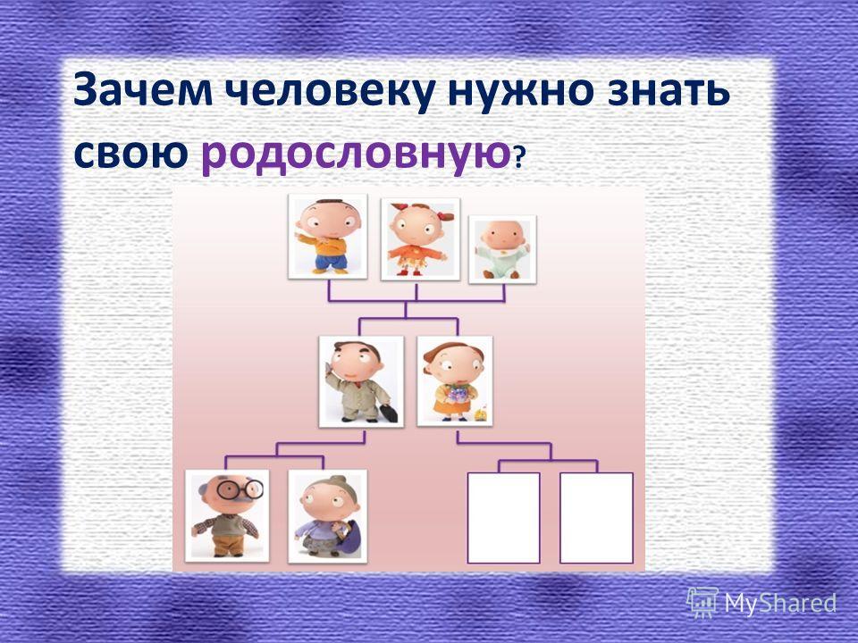Зачем человеку нужно знать свою родословную ?