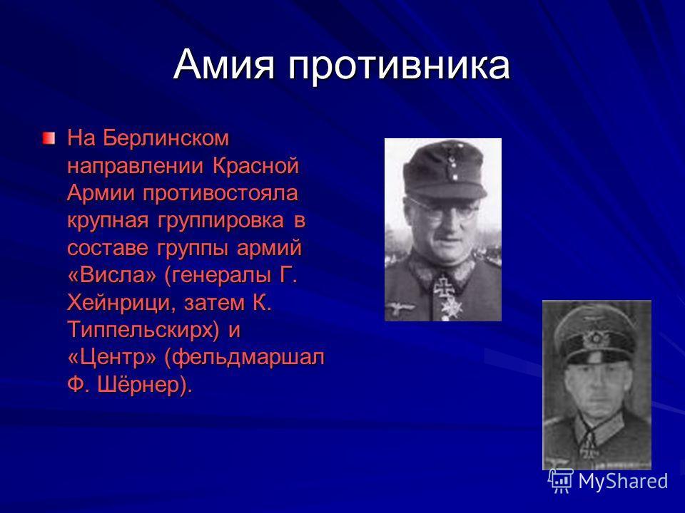 Амия противника На Берлинском направлении Красной Армии противостояла крупная группировка в составе группы армий «Висла» (генералы Г. Хейнрици, затем К. Типпельскирх) и «Центр» (фельдмаршал Ф. Шёрнер).