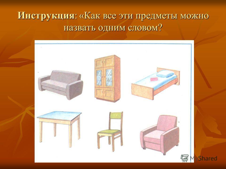 Инструкция: «Как все эти предметы можно назвать одним словом?