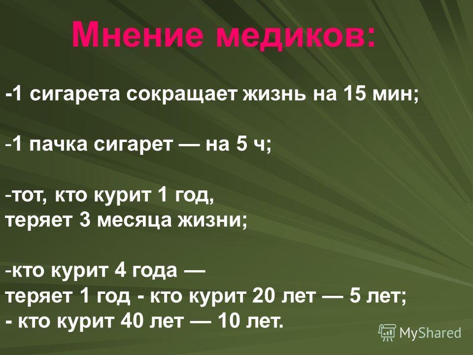 Мнение медиков: -1 сигарета сокращает жизнь на 15 мин; -1 пачка сигарет на 5 ч; -тот, кто курит 1 год, теряет 3 месяца жизни; -кто курит 4 года теряет 1 год - кто курит 20 лет 5 лет; - кто курит 40 лет 10 лет.