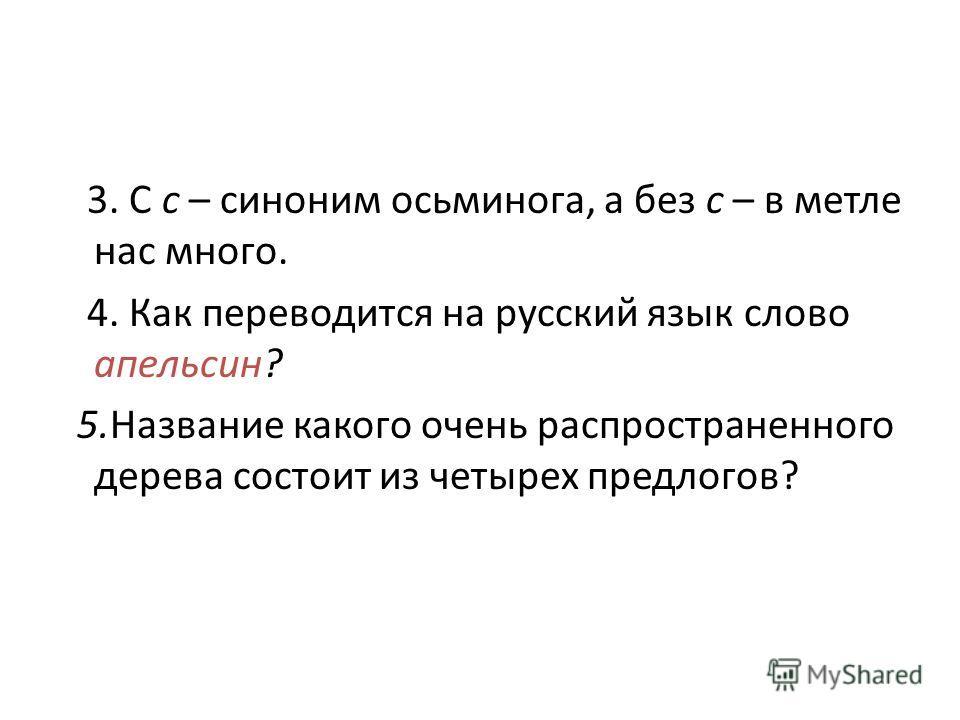 3. С с – синоним осьминога, а без с – в метле нас много. 4. Как переводится на русский язык слово апельсин? 5.Название какого очень распространенного дерева состоит из четырех предлогов?