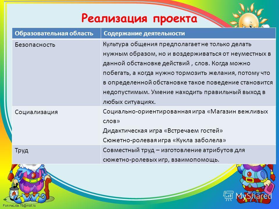 FokinaLida.75@mail.ru Реализация проекта Образовательная областьСодержание деятельности Безопасность Культура общения предполагает не только делать нужным образом, но и воздерживаться от неуместных в данной обстановке действий, слов. Когда можно побе