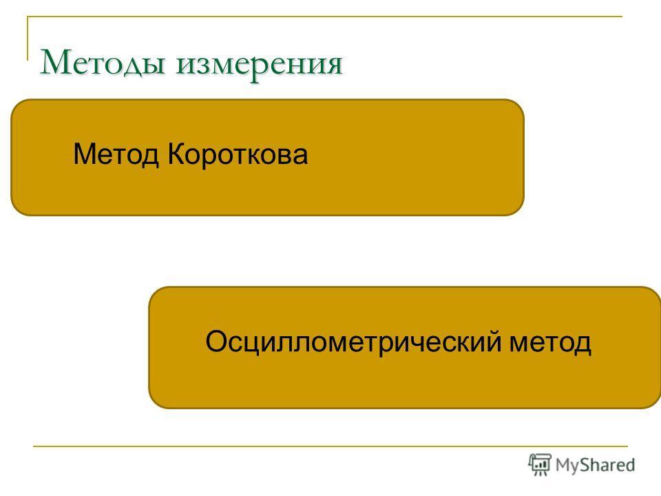 Методы измерения Метод Короткова Осциллометрический метод