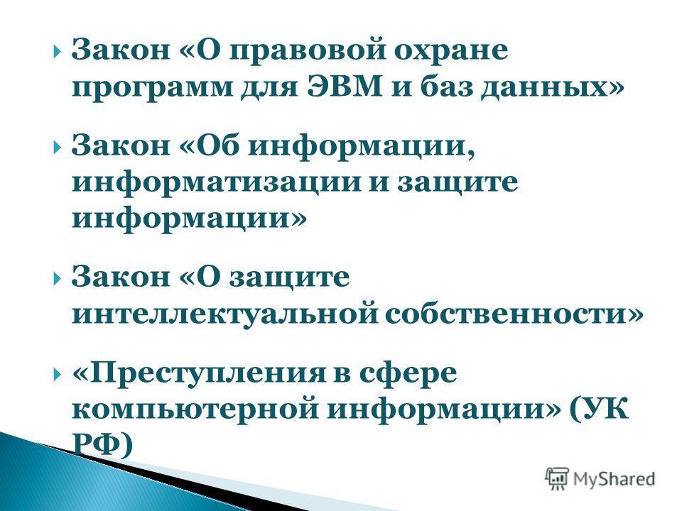 Закон «О правовой охране программ для ЭВМ и баз данных» Закон «Об информации, информатизации и защите информации» Закон «О защите интеллектуальной собственности» «Преступления в сфере компьютерной информации» (УК РФ)