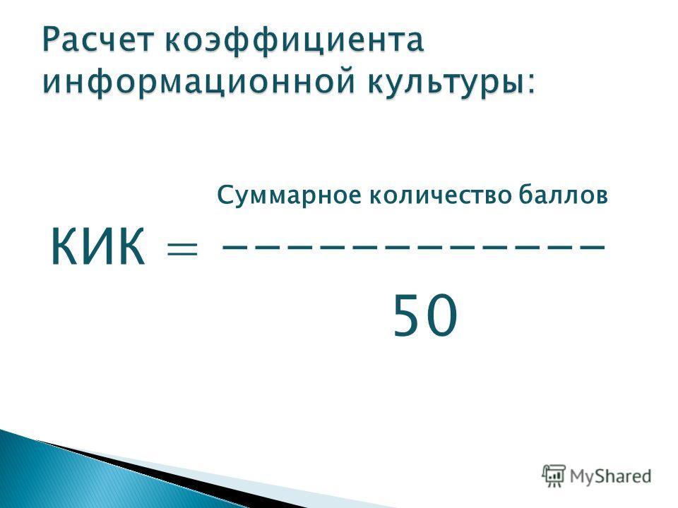 Суммарное количество баллов КИК = ------------ 50