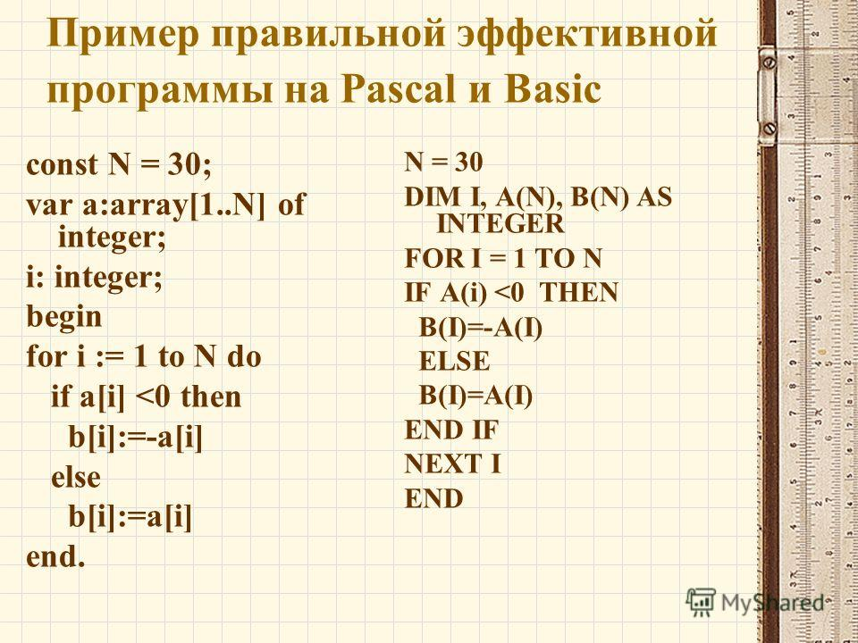 Пример правильной эффективной программы на Pascal и Basic const N = 30; var a:array[1..N] of integer; i: integer; begin for i := 1 to N do if a[i]