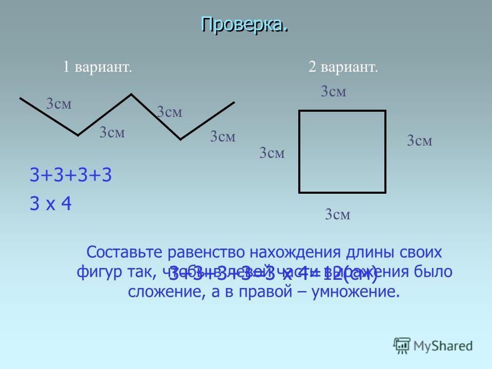 Проверка. 3 х 4 3см 1 вариант. 3+3+3+3=3 х 4 2 вариант. 3+3+3+3 3+3+3+3=3 х 4=12(см) 3см Составьте равенство нахождения длины своих фигур так, чтобы в левой части выражения было сложение, а в правой – умножение.