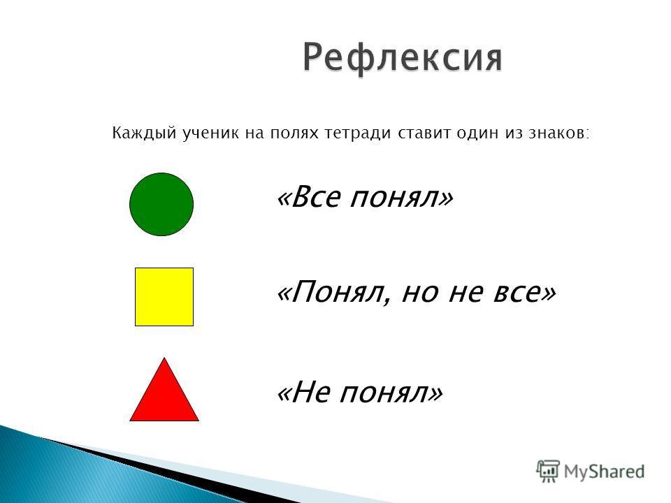 Рефлексия Каждый ученик на полях тетради ставит один из знаков: «Все понял» «Понял, но не все» «Не понял»