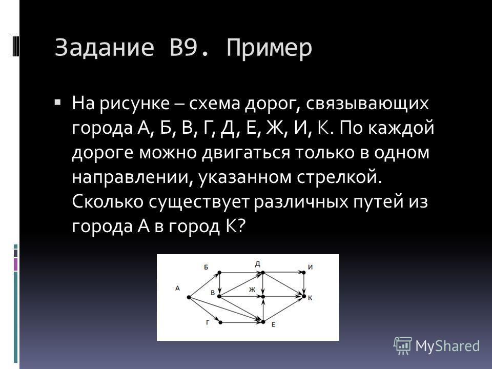 Задание В9. Пример На рисунке – схема дорог, связывающих города А, Б, В, Г, Д, Е, Ж, И, К. По каждой дороге можно двигаться только в одном направлении, указанном стрелкой. Сколько существует различных путей из города А в город К?