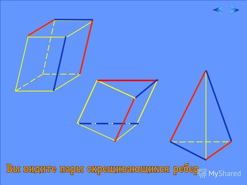 Теперь вы догадываетесь, какие интересные конструкции можно составлять из скрещивающихся прямых. Без скрещивающихся ребер нет и многогранника. Рассмотрим несколько моделей различных многогранников.