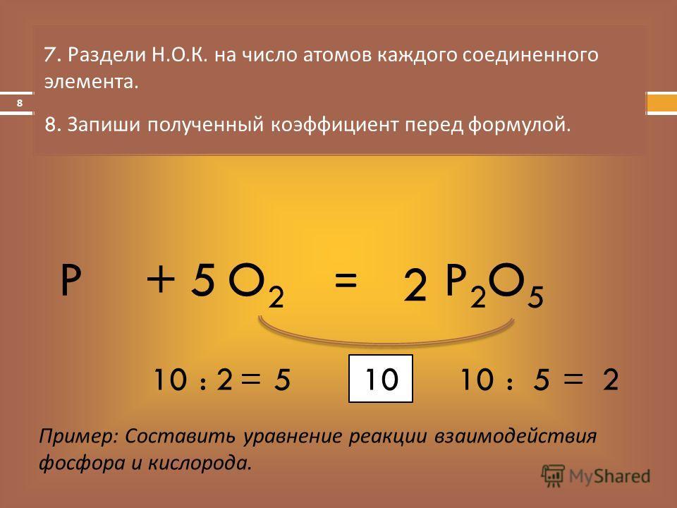 = 7. Раздели Н. О. К. на число атомов каждого соединенного элемента. 8. Запиши полученный коэффициент перед формулой. Пример: Составить уравнение реакции взаимодействия фосфора и кислорода. PO2O2 +P2O5P2O5 10 :5=2 :2=5 5 2 8