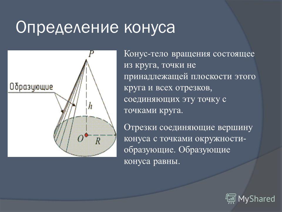 Определение конуса Конус-тело вращения состоящее из круга, точки не принадлежащей плоскости этого круга и всех отрезков, соединяющих эту точку с точками круга. Отрезки соединяющие вершину конуса с точками окружности- образующие. Образующие конуса рав