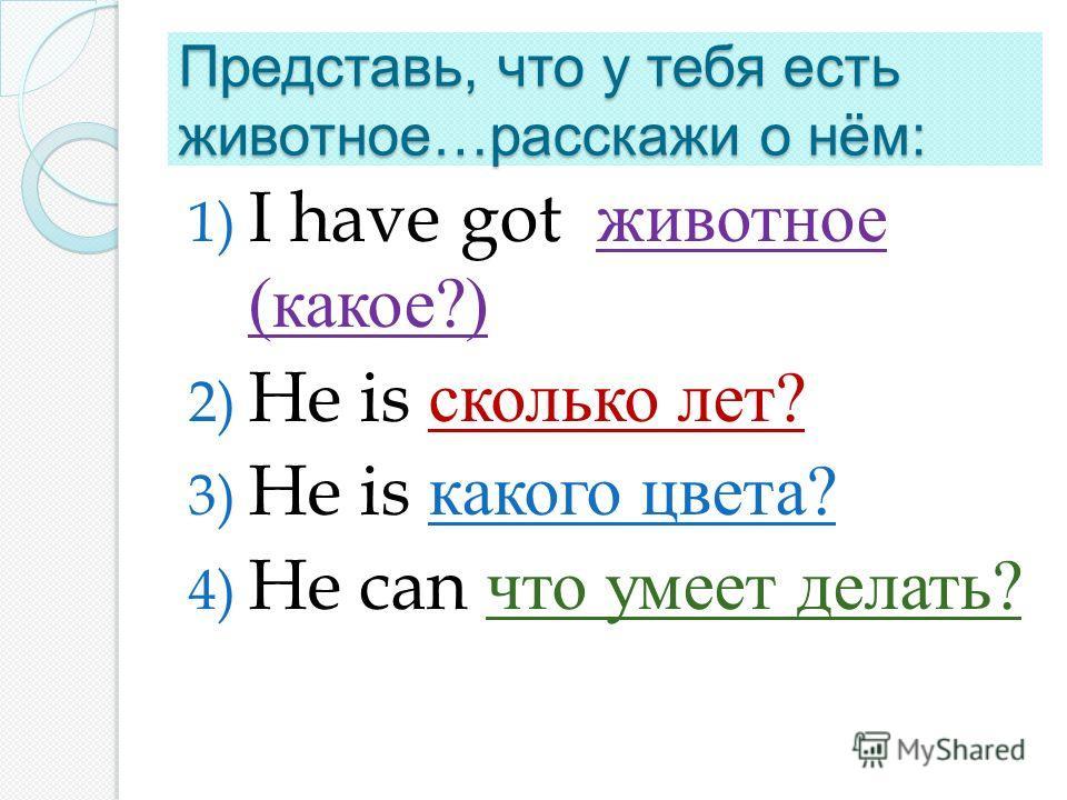 Представь, что у тебя есть животное … расскажи о нём : 1) I have got животное ( какое ?) 2) He is сколько лет ? 3) He is какого цвета ? 4) He can что умеет делать ?