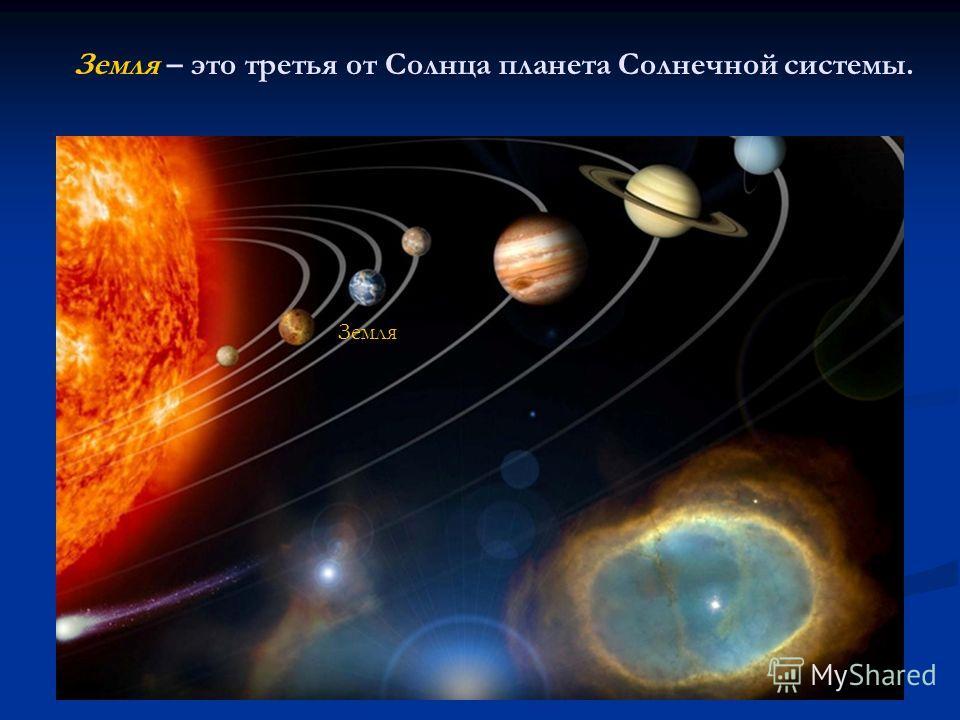 Земля – это третья от Солнца планета Солнечной системы. Земля