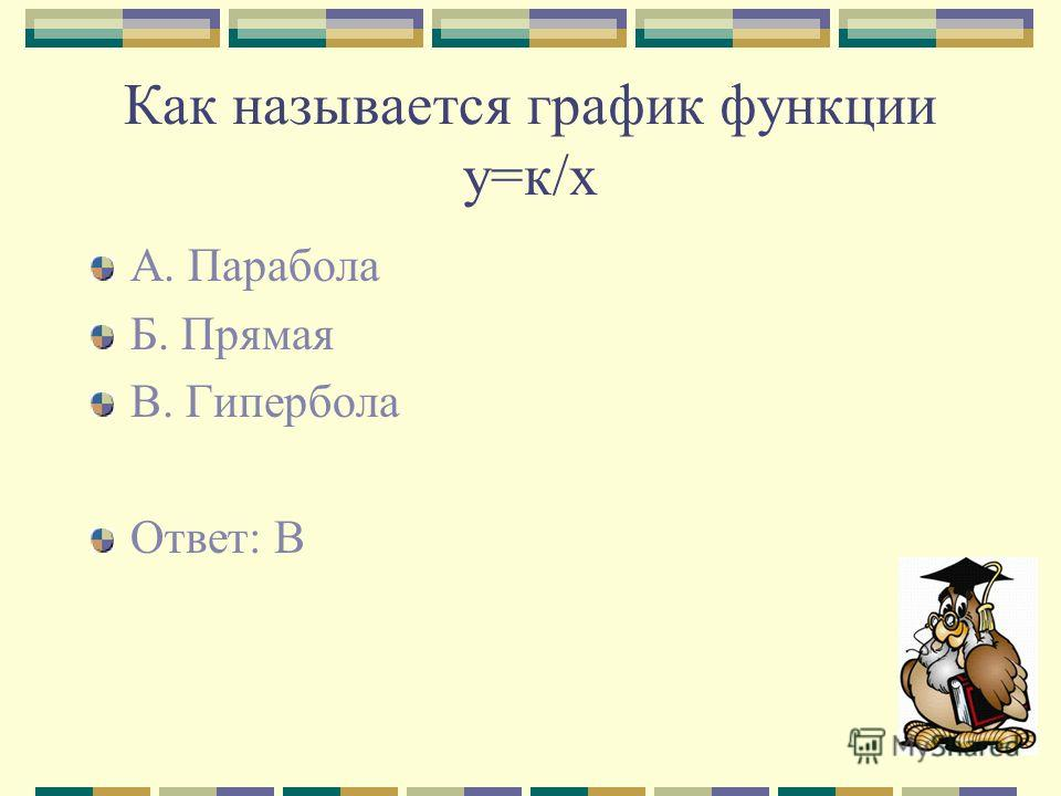 Как называется график функции у=к/х А. Парабола Б. Прямая В. Гипербола Ответ: В