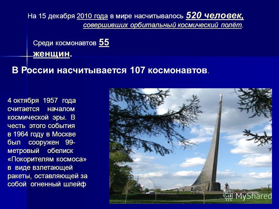На 15 декабря 2010 года в мире насчитывалось 520 человек, совершивших орбитальный космический полёт.2010 года 520 человек, совершивших орбитальный космический полёт Среди космонавтов 55 женщин. 55 женщин В России насчитывается 107 космонавтов. 4 октя