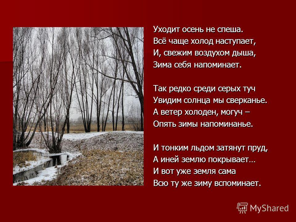 Уходит осень не спеша. Всё чаще холод наступает, И, свежим воздухом дыша, Зима себя напоминает. Так редко среди серых туч Увидим солнца мы сверканье. А ветер холоден, могуч – Опять зимы напоминанье. И тонким льдом затянут пруд, А иней землю покрывает