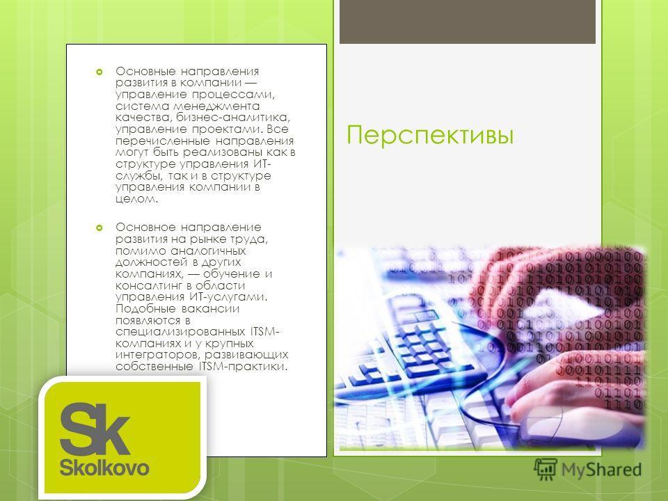 Основные направления развития в компании управление процессами, система менеджмента качества, бизнес-аналитика, управление проектами. Все перечисленные направления могут быть реализованы как в структуре управления ИТ- службы, так и в структуре управл