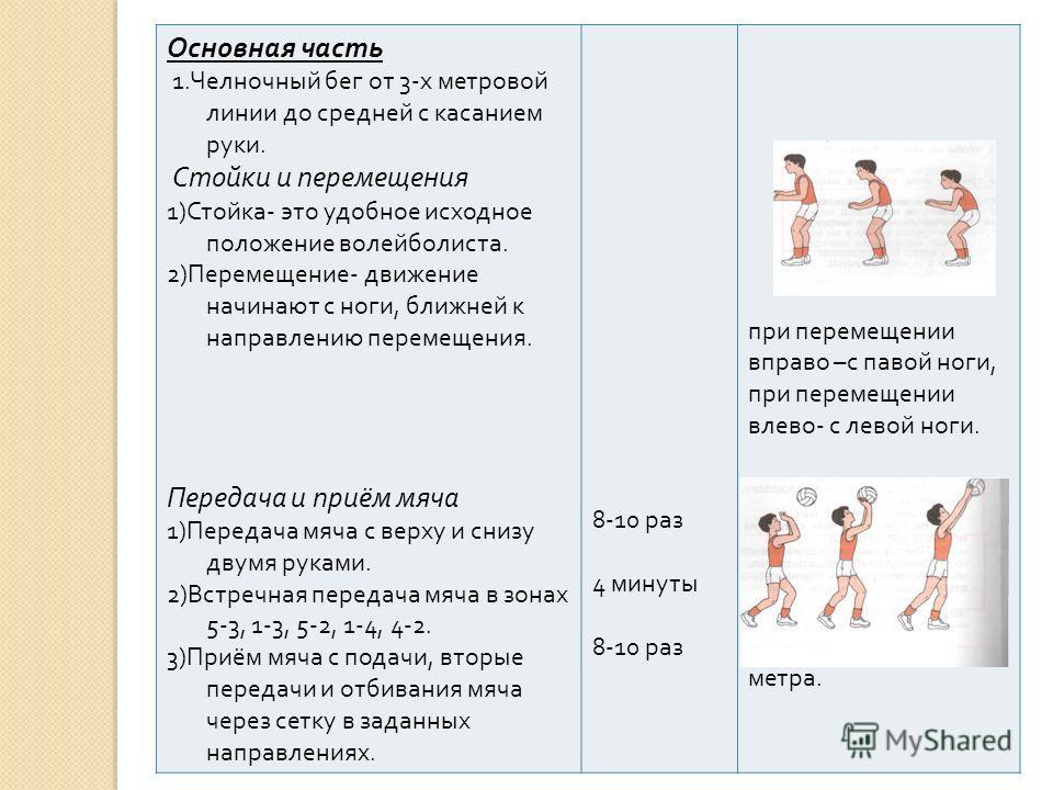 Основная часть 1. Челночный бег от 3- х метровой линии до средней с касанием руки. Стойки и перемещения 1) Стойка - это удобное исходное положение волейболиста. 2) Перемещение - движение начинают с ноги, ближней к направлению перемещения. Передача и
