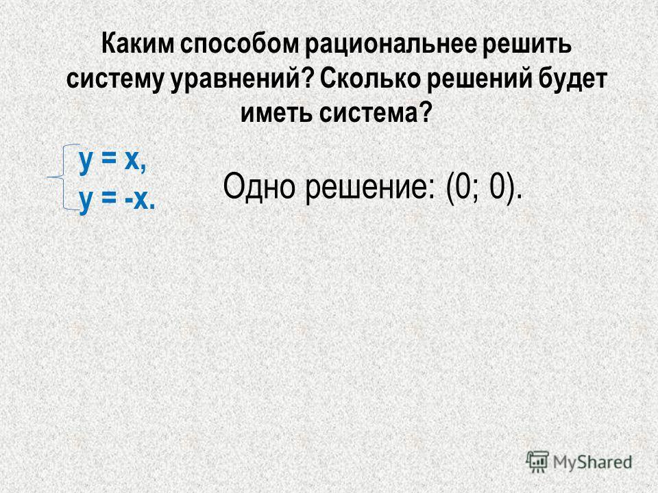 у = х, у = -х. Каким способом рациональнее решить систему уравнений? Сколько решений будет иметь система? Одно решение: (0; 0).