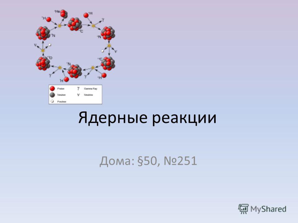 Ядерные реакции Дома: §50, 251