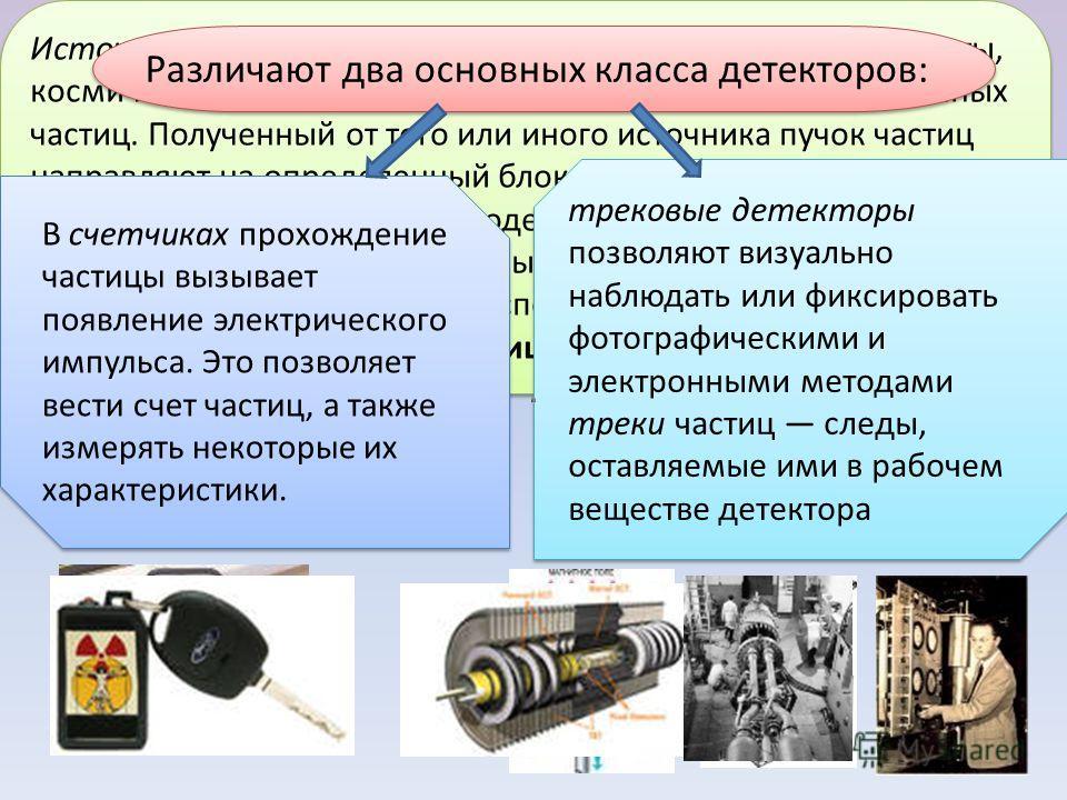 Источниками частиц могут служить радиоактивные препараты, космические лучи, ядерные реакторы и ускорители заряженных частиц. Полученный от того или иного источника пучок частиц направляют на определенный блок вещества, называемый мишенью. В резуль
