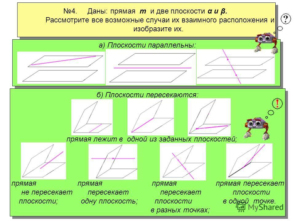 3. Даны: плоскость α и две непересекающиеся прямые а и b. Рассмотрите все возможные случаи их взаимного расположения и изобразите их. 3. Даны: плоскость α и две непересекающиеся прямые а и b. Рассмотрите все возможные случаи их взаимного расположения