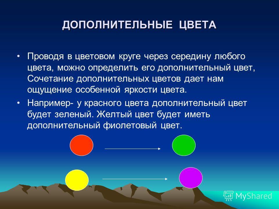 ДОПОЛНИТЕЛЬНЫЕ ЦВЕТА Проводя в цветовом круге через середину любого цвета, можно определить его дополнительный цвет, Сочетание дополнительных цветов дает нам ощущение особенной яркости цвета. Например- у красного цвета дополнительный цвет будет зелен