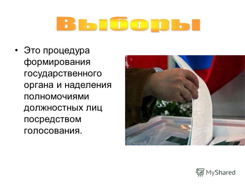 Это процедура формирования государственного органа и наделения полномочиями должностных лиц посредством голосования.