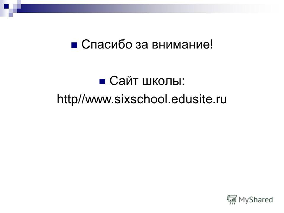 Спасибо за внимание! Сайт школы: http//www.sixschool.edusite.ru