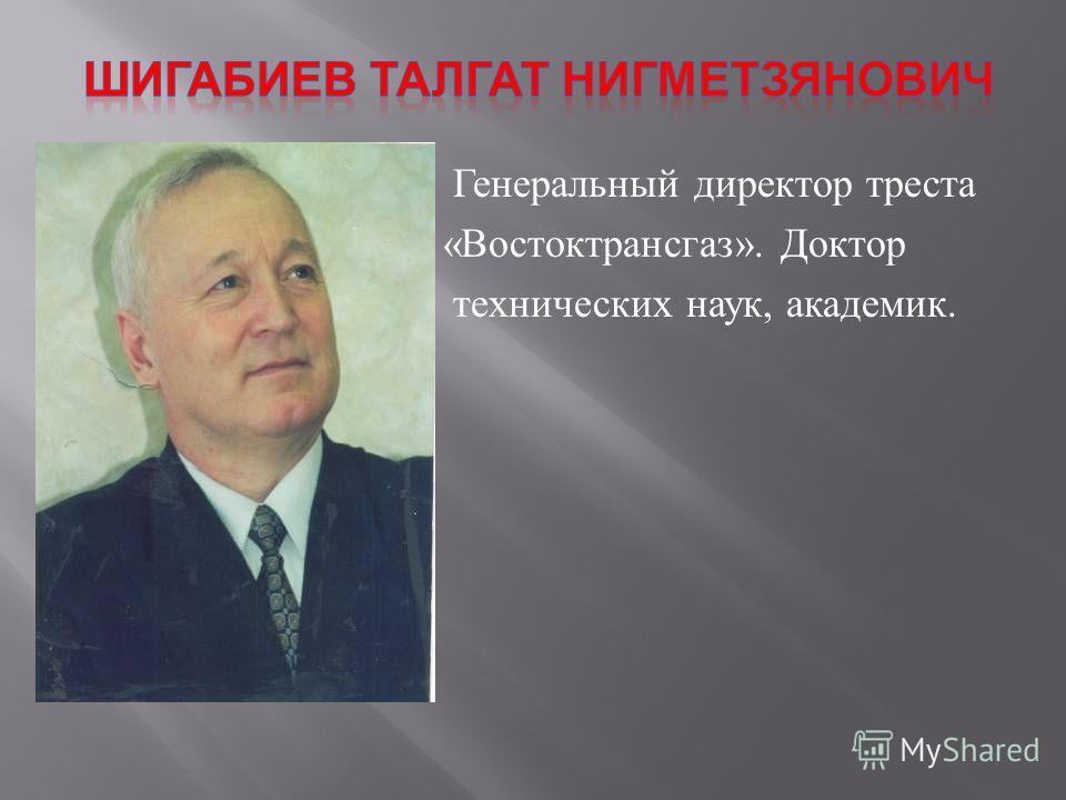 Генеральный директор треста « Востоктрансгаз ». Доктор технических наук, академик.
