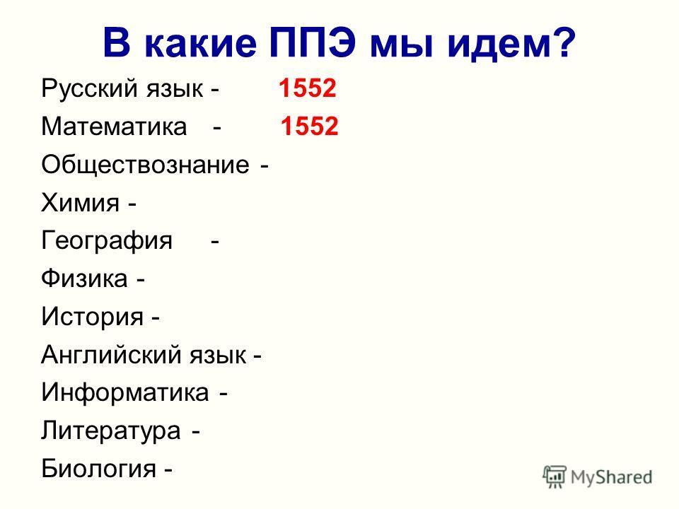 В какие ППЭ мы идем? Русский язык - 1552 Математика - 1552 Обществознание - Химия - География - Физика - История - Английский язык - Информатика - Литература - Биология -