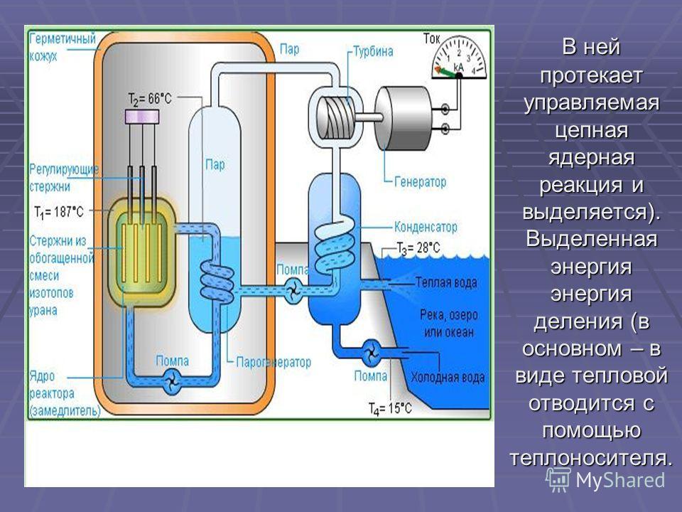 В ней протекает управляемая цепная ядерная реакция и выделяется). Выделенная энергия энергия деления (в основном – в виде тепловой отводится с помощью теплоносителя.